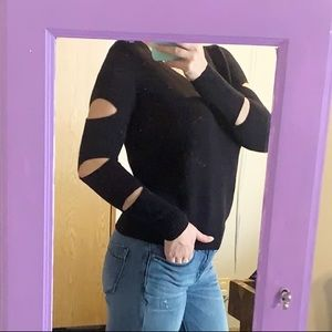 Ruby Moon Black Sweater with Cutout Sleeves